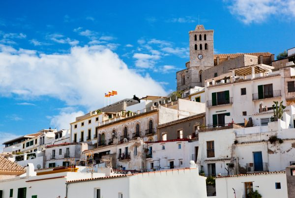View of Ibiza Town looking up towards the Cathedral