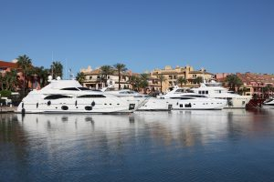 Sotogrande Marina, boats on the water and property in the background