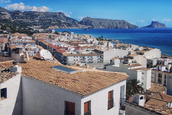 View of white houses of old town Altea, Spain