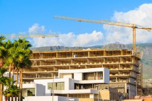 Construction site with crane in Tenerife.