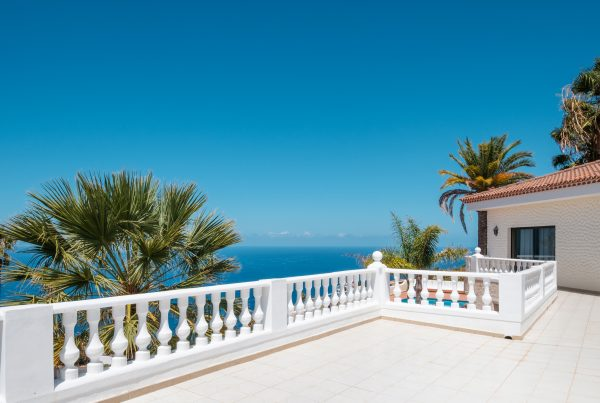 villa with ocean view terrace, blue sky and palm tree background