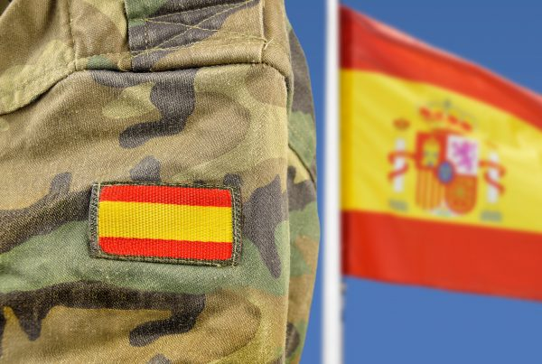 Spanish flag and military uniform